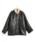 ()の古着「ボアレザージャケット」|ブラック