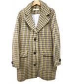 SESSUN(セッスン)の古着「チェックツイードチェスターコート」|イエロー