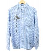 UNIFORM EXPERIMENT(ユニフォームエクスペリメント)の古着「プリントシャツ」|ブルー×ホワイト