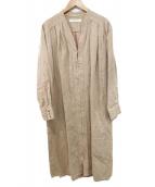 rukkilill(ルッキリル)の古着「ノーカラーガウンコート」|アイボリー