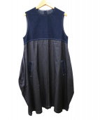 tricot COMME des GARCONS(トリコ コムデギャルソン)の古着「デニム切替サテンワンピース」 ブラック×ネイビー