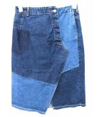 AKANE UTSUNOMIYA(アカネ ウツノミヤ)の古着「パッチワークデニムスカート」|ブルー