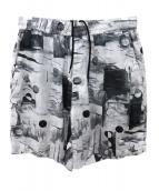 CLANE HOMME(クラネ オム)の古着「プリントアートハーフパンツ」|ホワイト×グレー
