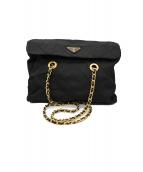 PRADA(プラダ)の古着「キルティングチェーンショルダーバッグ」|ブラック×ゴールド