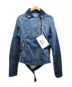 DIESEL(ディーゼル)の古着「デニムライダースジャケット」 ブルー