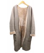 PLAIN PEOPLE(プレインピープル)の古着「ノーカラームートンコート」|グレー