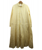 Veritecoeur(ヴェリテクール)の古着「羽織ストライプワンピース」|イエロー×ホワイト