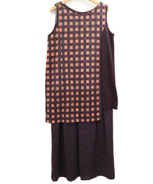 Gabardine K.T(ギャバジンKT)Gabardine K.T (ギャバジンKT) レイヤードワンピース パープル サイズ:9 定価48.000円+税 の古着・服飾アイテム