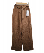 RAY BEAMS(レイビームス)の古着「ボタンベルトワイドパンツ」|ブラウン
