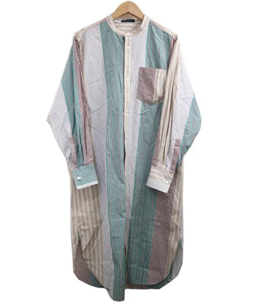 MACPHEE(マカフィ)MACPHEE (マカフィ) シャツワンピース グレー×ホワイト サイズ:36 定価28.000円の古着・服飾アイテム