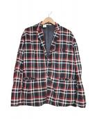 ()の古着「チェックテーラードジャケット」 レッド×ブラック