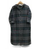LINO K・T(リノ キヨセタカコ)の古着「マドラスチェックロングシャツ羽織」|グリーン×ブラック