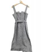 allureville(アルアバイル)の古着「リネンヘリンボーンワンピースジャンパースカート」|ベージュ
