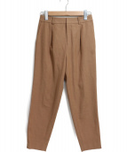 LAUTRE AMONT(ロートレアモン)の古着「コズミクール鉄板テーパードタックパンツ」|ブラウン