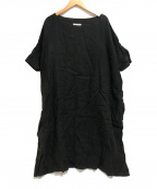 Honnete(オネット)の古着「半袖リネンワンピース」|ブラック