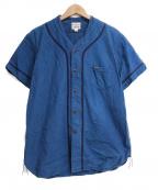 PHERROWS(フェローズ)の古着「ヘビーシャンブレー ベースボール S/S シャツ」|ネイビー