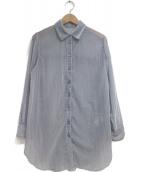 COCODEAL(ココディール)の古着「シアーベロアストライプシャツ」|ネイビー