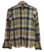 finamore(フィナモレ)の古着「リネン混チェックシャツ」 イエロー