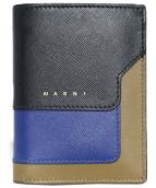 MARNI(マルニ)の古着「二つ折りミニ財布」 ブラウン×ネイビー