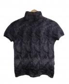 me ISSEY MIYAKE(ミーイッセイミヤケ)の古着「ハイネック半袖プリーツカットソー」|パープル