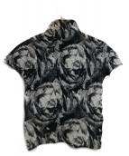 me ISSEY MIYAKE(ミーイッセイミヤケ)の古着「ハイネック半袖プリーツカットソー」|ホワイト×ブラック