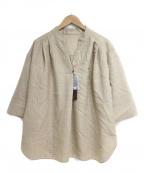 COMME CA(コムサ)の古着「ビッグシルエット五分袖シャツ」 ベージュ