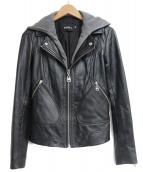 DOMA(ドマ)の古着「フード付レザージャケット」|ブラック