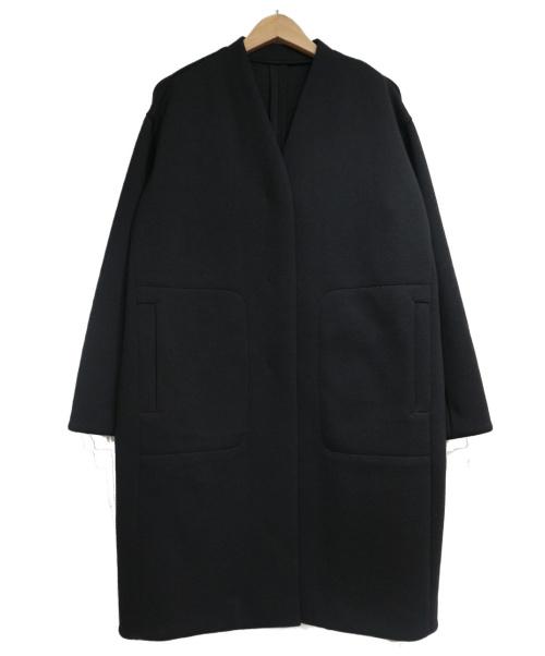 JOURNAL STANDARD NEU(ジャーナルスタンダード ノイ)JOURNAL STANDARD NEU (ジャーナルスタンダード ノイ) ダンボールニットノーカラーコート ブラック サイズ:SIZE F  20年モデルの古着・服飾アイテム
