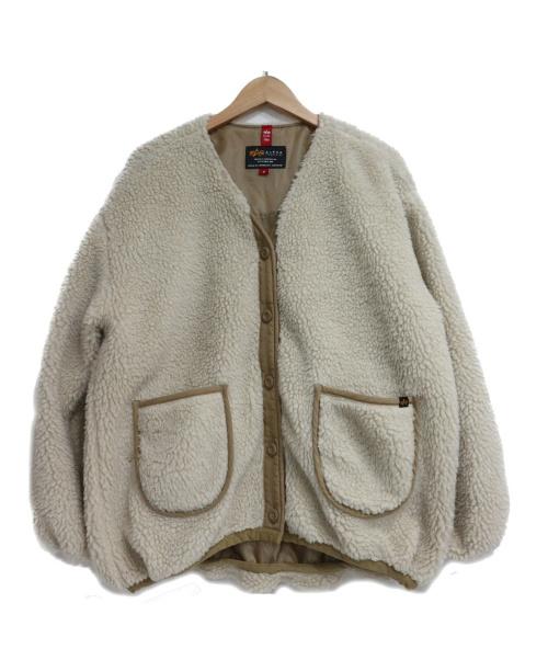 ALPHA INDUSTRIES(アルファ インダストリーズ)ALPHA INDUSTRIES (アルファ インダストリーズ) ドロップショルダー ボアブルゾン ベージュ サイズ:SIZE Mの古着・服飾アイテム