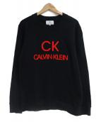 ck Calvin Klein(シーケーカルバンクライン)の古着「EMBロゴツイステッドスウィートテリースウェット」 ブラック