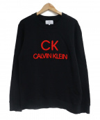 ck Calvin Klein(シーケーカルバンクライン)の古着「EMBロゴツイステッドスウィートテリースウェット」|ブラック