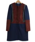 DIANE VON FURSTENBERG(ダイアンフォンファステンバーグ)の古着「ノーカラーウールコート」|ネイビー×ブラウン