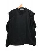 TOGA PULLA(トーガプルラ)の古着「シルケットジャージーロングスリーブカットソー」|ブラック