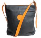 HUNTING WORLD(ハンティングワールド)の古着「レザーショルダーバッグ」 ブラック×オレンジ