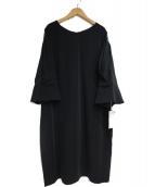 KUMIKYOKU(クミキョク)の古着「レース切替フレア袖コクーン ドレス」|ブラック