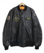 ALPHA(アルファ)の古着「MA-1 レザーフライトジャケット」|ブラック
