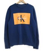 Calvin Klein Jeans(カルバンクラインジーンズ)の古着「裏起毛クルーネックスウェット」|ネイビー