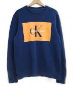 Calvin Klein Jeans(カルバンクラインジーンズ)の古着「裏起毛クルーネックスウェット」 ネイビー