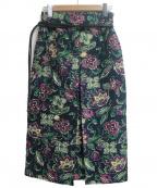 TOMORROW LAND collection(トゥモローランドコレクション)の古着「ダークフラワージャカード ボックスプリーツスカート」|グリーン