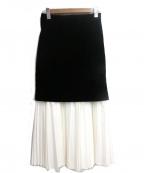SHE TOKYO(シートーキョー)の古着「ベロアプリーツ切替スカート」|ブラック×ホワイト