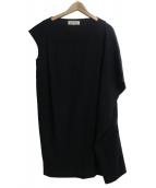 ENFOLD(エンフォルド)の古着「サマーウールアシンメトリーワンピース」|ブラック