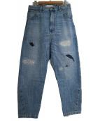 JUNYA WATANABE CdG(ジュンヤワタナベコムデギャルソン)の古着「ダメージ加工デニムパンツ」 ブルー