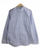 CDG JUNYA WATANABE MAN(コムデギャルソン ジュンヤワタナベマン)の古着「綿ドビーズストライプ×綿ドビーチェックシャツ」 ネイビー×ホワイト