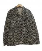 ()の古着「総柄2Bジャケット」 ブラック×ベージュ