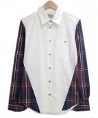 Vivienne Westwood man(ヴィヴィアン ウェストウッド マン)の古着「ロングスリーブシャツ」 ホワイト×ネイビー