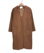 COLLAGE GALLARDAGALANTE(コラージュ ガリャルダガランテ)の古着「メルトンノーカラーコート」|ブラウン
