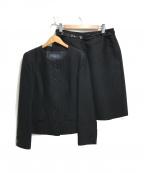 BURBERRY LONDON()の古着「シルクウール ノーカラースカートセットアップ」 ブラック