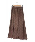 ()の古着「ジャガードフレアースカート」|ブラウン