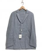LARDINI()の古着「ギンガムチェック3Bジャケット」 ブルー