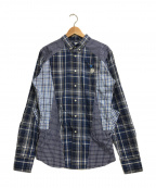 ALEXANDER McQUEEN(アレンキーサンダーマックイーン)の古着「スカルロース刺繍切替チェックシャツ」 ブルー